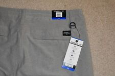 NWT O'NEILL Size 36 Mens Flat Front Poly Spandex Hybrid Golf Shorts Gray Striped