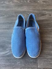NEW Minnetonka Women's Pacific Perforated Slip On Shoes Blue Suede Size 6