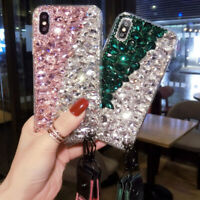 3D Handmade Luxury Sparkle Bling Diamond Rhinestone Soft Phone Case with strap