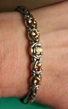 Carolyn Pollack Relios Sterling Silver Citrine 5 Stone Cuff Bracelet Size AVG
