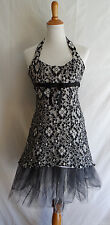 Cache Black White Floral Mesh Lace Cocktail Party Dress Tulle Net Gown Size 2