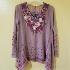 Johnny Was • Embroidered Long Bell Sleeve Rayon Blouse • NOW 65% OFF