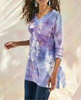 Soft Surroundings Tiger Lily Tunic Floral Print V-Neck Pullover Spring Top