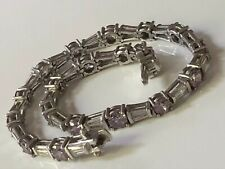 'Diamonique @ QVC' sterling silver & clear/lilac CZ stone tennis bracelet 12.87g