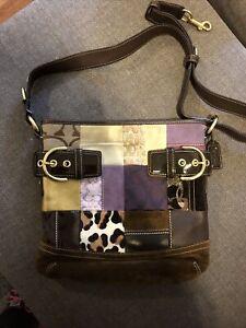 Coach 3573 Leather/Suede Shoulder Bag Purse Animal Print Patch Crossbody