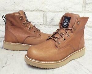 Georgia Mens Wedge Soft Toe Farm & Ranch Work Boots Size 10 Barracuda Gold G6152