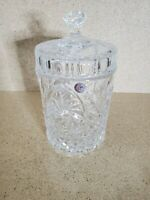 Vintage Crystal Glass Covered Jar with Lid 8.5'' T ~ 4.5'' W