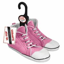 Girls Pink Hi-Top Slippers Trainer Sneaker Slippers Childrens Size