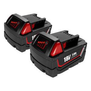 2x 18V 5.0AH For Milwaukee M18 XC Battery 48-11-1852 M18B M18B5 M18B6 48-11-1828