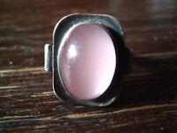 feiner eleganter Art Deco Ring rosa Rosenquarz 925er Silber RG 51 / 52 16,25 mm
