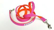Hundeleine Duo Doppelleine uni orange pink mehrfach verstellbar 2m lang1148