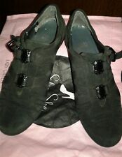 Women Shoes Stuart Weitzman Black Suede, Flat Slip On Buckle Locks Style Size 6M