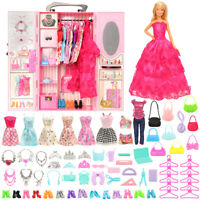 Barwa Fashion New Pink Wardrobe with 69 accessories For Barbie Doll  Girl Gifts