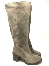 New Lucky Ritten Suede Taupe Tall Riding Leather Boots Size:7.5