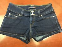 Levis Womens Blue Jean Shorts Womens Juniors 3 Stretch Dark Wash Low
