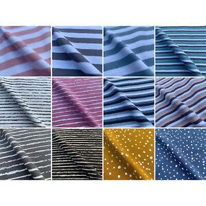 John Louden Cotton Elastane Stretch Stripes Print Jersey Fabric | Per Half M