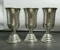 Set of 3 Antique Silver Small Goblets, Liquor Cups