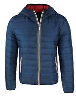 Piumino uomo invernale blu scuro giubbotto giacca bomber slim fit con cappuccio
