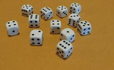 Chessex D6 dice, 12mm rounded corners, White with black pips, set of 12