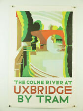 vintage UK travel transport poster ~ Colne River at Uxbridge by Tram, 20x30 repo