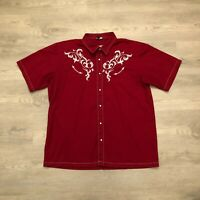 Lifeway Saddle Ridge Ranch Mens Red Embroidered Western Shirt S/S Pearl Snap 2XL