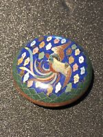 Antique Cloisonne Enameled Box With Bird On Top - Very Detailed!
