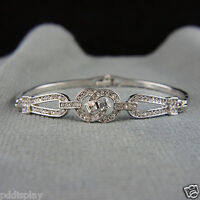14k white Gold plated elegant crystals bangle bracelet with Swarovski elements