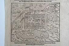 44-52-5 Gravure carte Sébastien Munster vue de la ville de Calais époque fin 16e