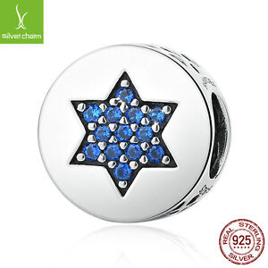XMAS 925 Sterling Blue Faith Round Charms fit Bracelets Women Chain Jewelry