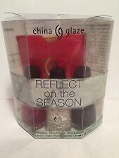 CHINA GLAZE REFLECT ON THE SEASON GIFT SEY 3 FULL SIZE POLISH & MIRROR W/POUCH