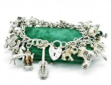 Vintage Sterling Silver Charm bracelet 20+ charms 7.5 inch Art Deco 88g #W480