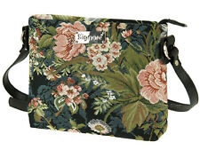 Signare Ladies Woven Tapestry Across Body Shoulder Bag In Peony Black Design