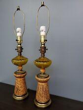 Pair Vintage Table Lamps Mid Century Modern Amber Glass Ceramic Retro