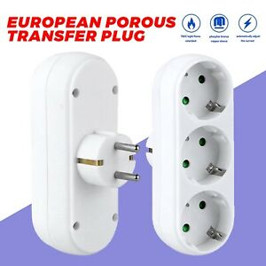 3Fach EU Steckdose Mehrfachstecker Steckdosenleiste Steckdosenverteiler Adapter