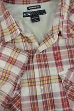 Oakley Men's Red & Gold Plaid Cotton Western Style Casual Shirt L Large