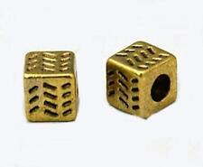 50 x Antique Gold Cube Spacer Beads - Cubes  - NF LF CF - 4.5mm