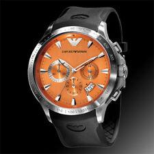 100% Authentic Emporio Armani Orange Dial Black Rubber Strap Men's Watch AR0652