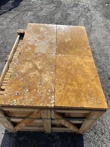 Terrassenplatten Natursteinplatten Gold Travertin 60/40/3 cm