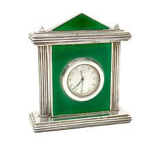 Italian 925 Sterling Silver and Green Gouilloche Enamel Ponifa Table Clock