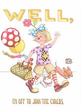 Mary Engelbreit-Off To Join The Circus Clown-Blank Greeting Card & Envelope-New