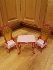 Barbie Doll Castle Furniture Disney Princess Belle Table and Chairs Dining Set