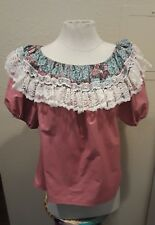 VINTAGE WOMEN'S PATCHWORK BRAND RUFFLE OFF SHOULDER COUNTRY WESTERN BLOUSE SMALL