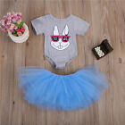 2PCS Set Toddler Baby Girls Outfits Clothes Romper T-shirt Tops+Tutu Dress Skirt