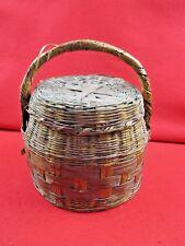"Antique Cherokee Indian Basket With Handle Lid Artifact Relic 12"" x 9"""