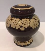 Antique Art Red Pottery Covered Jar With Brown Smooth Glaze Flower Design