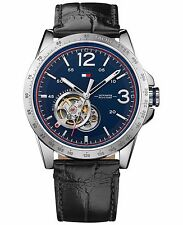 Tommy Hilfiger Original 1791253 Mens Automatic Casual Sport Black Leather Strap