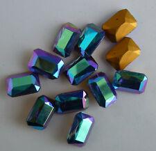12 Vintage Glass Rhinestones Octagon Montana Blue AB TTC Foiled 18x13mm J1-7D