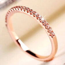 18K ROSE GOLD GF LADY GIRLS THIN ETERNITY BAND WEDDING RING W/ SIMULATED DIAMOND