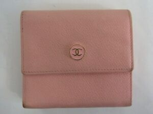 Auth XH07 CHANEL Coco button Try-fold wallet with serial seal from Japan