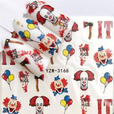 Nail Art Stickers Water Decals Transfers Halloween IT Clowns (YZW-3168)
